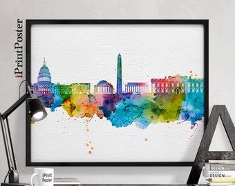 Washington DC art print, Washington DC poster, Washington skyline art, wall art, home decor, travel decor, iPrintPoster