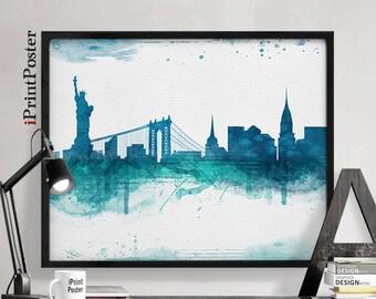 New York city poster, New York city print, New York city art, wall art, travel decor, art print, travel gift, iPrintPoster