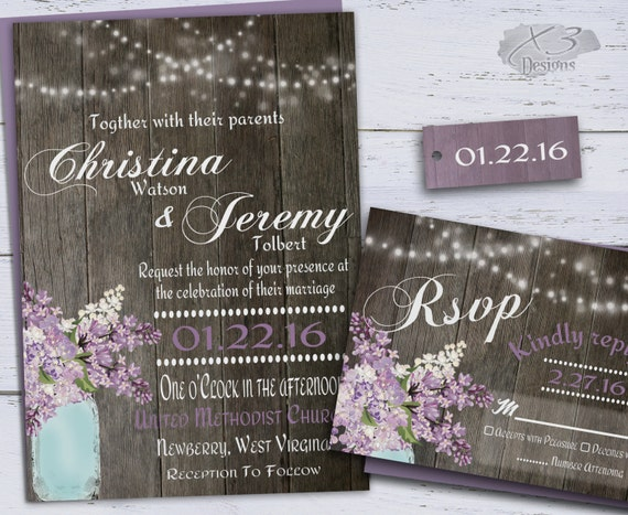 Country Rustic Wedding Invitations: Rustic Wedding Invitation Country Mason Jar Wedding By