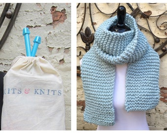 Knitting Kit DIY beginner make an extra long chunky thick knit scarf over 7 ft long. Kit has free pattern, large knitting needles, yarn, bag