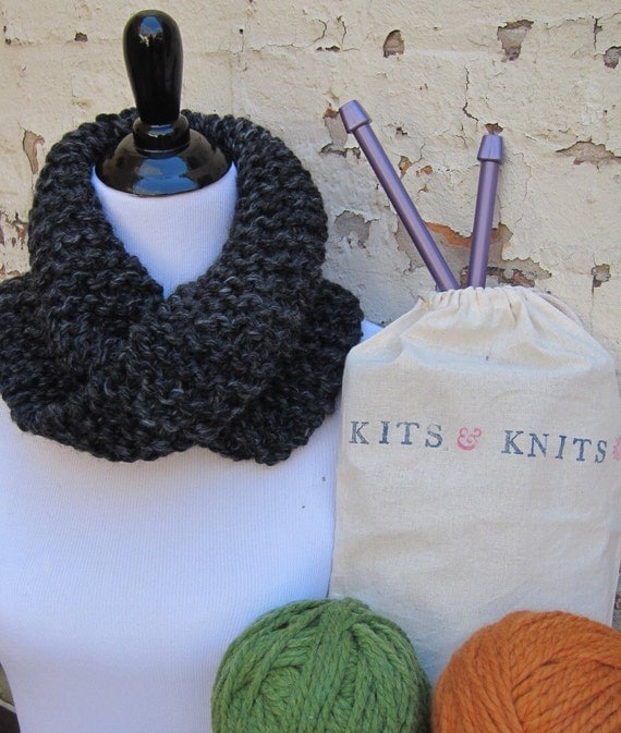 Knitting Kit DIY Beginner Knit your own twisted mobius cowl.
