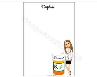 Pharmacist Notepads - Women - Personalized - Brunette, Blonde, Black Hair, Auburn, African American-With or Without Glasses-BUY 3 GET 1 FREE