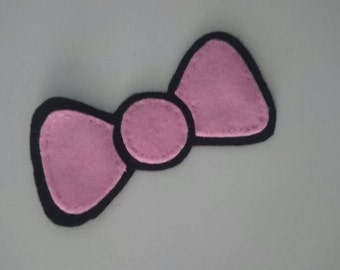 Handsewn hello kitty style bow sew on patch / badge / hair clip