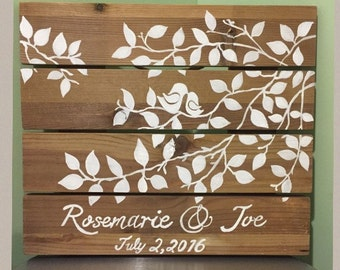 "Hand painted wood palette ""Love Birds in a Tree"""