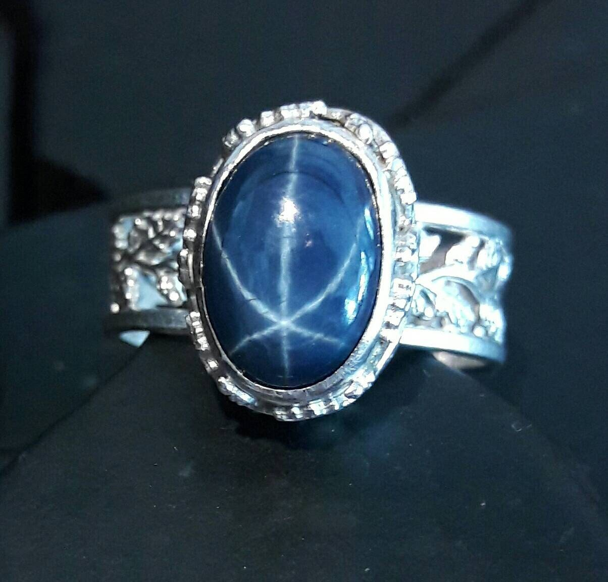 genuine blue star sapphire and sterling silver ring by. Black Bedroom Furniture Sets. Home Design Ideas