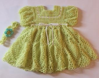 Crochet Baby Dress, Lemon Grass Baby Dress, Baby Dress with Headband, 0-3 Month Dress, Green Baby Dress, Crochet Infant Dress, Baby Shower