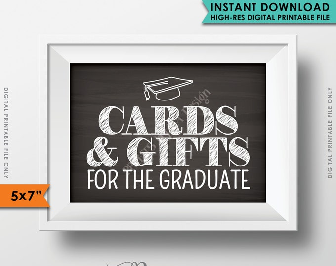 "Cards & Gifts Graduation Party Sign, Cards and Gifts for the Graduate, Gifts for the Grad, 5x7"" Chalkboard Style Printable Instant Download"