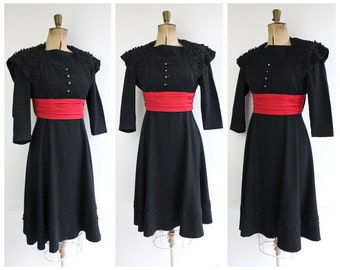 Vintage 1940's ww2 black silk dress pinup goodwood  Original 1940's Black and Red Silk Dress 40's vintage forties true vintage