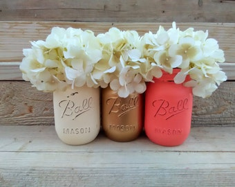 Coral and Gold Painted Mason Jars, Coral and Gold Baby Shower, Coral and Gold Wedding Decor,Coral and Gold Nursery Decor,Shower Decorartions