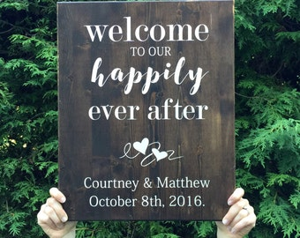 Welcome Sign - Wedding Sign - Wedding Decor - Happily Every After - Wooden Sign -