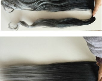Straight Wavy Dip Dye Ombre Wrap Around Ponytail Clip in Hair Extensions (Natural black/grey)