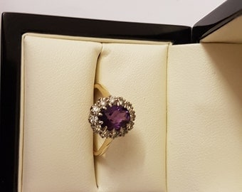 18ct Yellow Gold Amethyst & Diamond Ring Size P