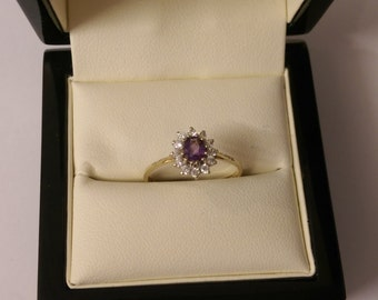 9ct Yellow Gold Amethyst & Diamond Cluster Ring Size O.1/2