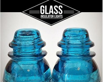 Pre-Drilled Glass Insulators For DIY Insulator Lights Antique Vintage Blue Hemingray 42