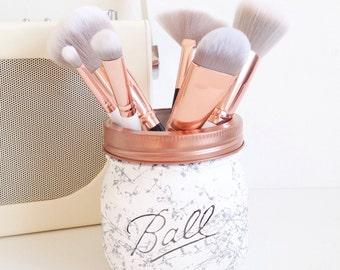 Painted marble / splatter Ball mason jar - desk decor, pen pot, makeup brush holder