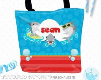 SALE shark Personalized Tote Bags, custom Tote bag, kids tote, school tote, kindergarten tote, beach tote bag, Tote Bags TB133
