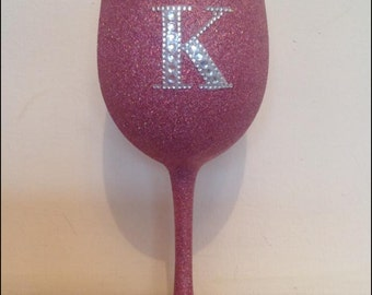 Large plain glitter wine glass with diamante initial or age