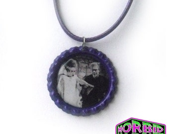 Bride Of Frankenstein Universal Monsters Bottle Cap Waxed Cord Horror Necklace *Multi Colour Options*