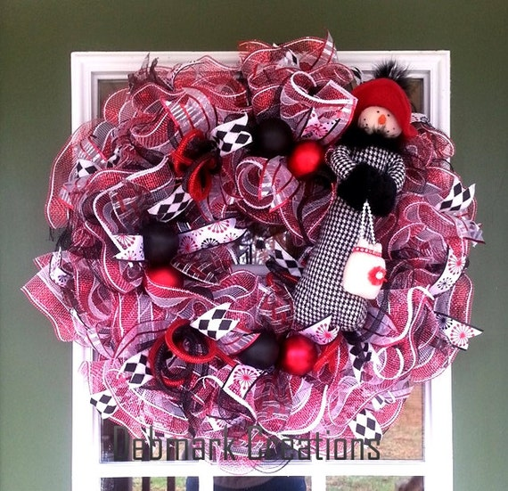 Red White and Black Snowman Mesh Wreaths