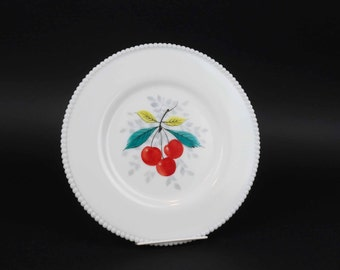 """Vintage Westmoreland Beaded Edge Milk Glass Dinner Plate, Cherry Fruits, 10 1/2"""",  Many Others Available"""