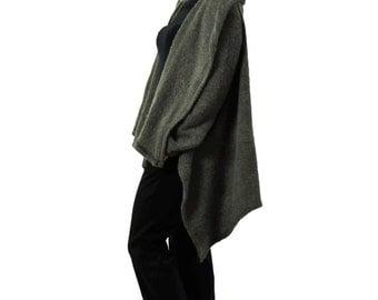 Winter Poncho/Italian Blended Wool/Woman Wool Cape/ Gray Jacket/ Italian wool poncho/Stylish Poncho Blended Wool/Soft wool poncho/A1351