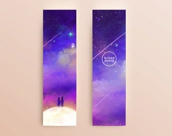 Fantasy Space Anime Art Bookmark: Our Secret Universe, Sky Bookmark, Space Bookmark, Couple on the Moon