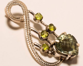 925 Solid Sterling Fine Silver Faceted Green Amethyst Peridot  Pendant