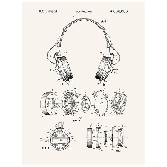 headphones patent poster screen print by inkedandscreened