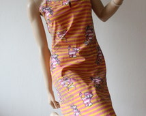 VINTAGE 90s CRAZY DRESS Stripes Ponies Cats Cotton Mini Womens Unique ooak Summer Beach Original Open Back Sexy Psychedelic Pink Yellow Hot