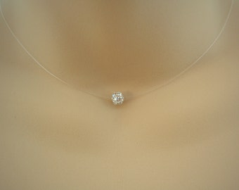 Gabriella ~ Simple Illusion Necklace, Floating 6mm AB Crystal Pave Diamante Ball Silver plated