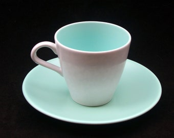 Classic Vintage Poole Twintone Seagull and Ice Green Tea Cup and Saucer Duo (Four available) Special Offer