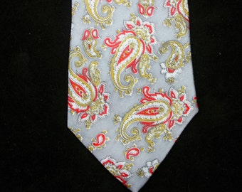 Vintage Locarno of Italy Gentleman's Polyester Red and Grey Paisley Tie