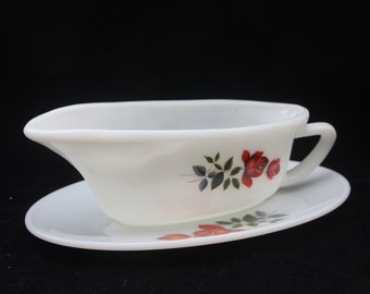 Sixties J A Jobling Pyrex June Rose Gravy Boat and Saucer