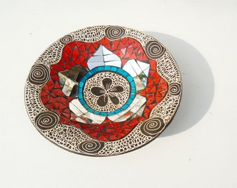 Mosaic Plate, Black Plate, Mosaic Platter, Vintage Mosaic, Glass Mosaic Plate, Futurism Mosaic Plate