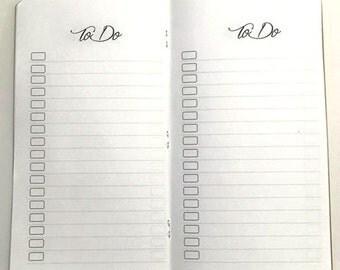 Midori Travelers Notebook TO DO Inserts-Fauxdori Standard Size Inserts