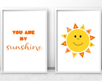 Kids Prints, Printable Kids Wall Art,  You Are My Sunshine Print,  Orange Nursery Decor,  Kids Art Print,  Nursery Quote Print, Sunshine Art