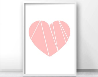 Pink Heart Wall Art Print, Printable Art, Pink Decor, Wall Art Printable, Digital Download Art, Heart Print, Home Decor 8x10 Wall Print