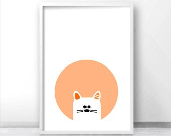 Cat Nursery Wall Art Printable, Animal Nursery Print, Baby Animal Print, Kids Wall Art, Orange Nursery Decor, Printable Nursery Art, Cat Art
