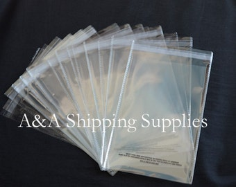 SELF SEAL 50 or 100 or 200 4x6 1.5 mil Lip & Tape Clear Poly Bags w/Suffocation Warning