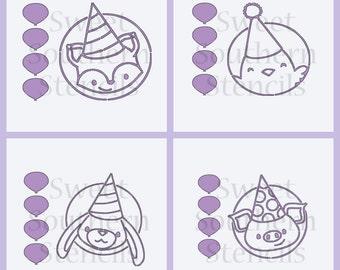 Party Animals PYO Cookie Stencils (4 separate stencils)