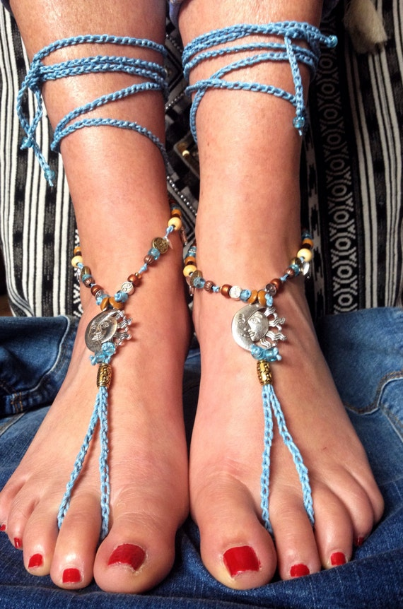 handmade crochet beaded barefoot sandals