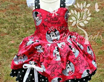 Custom Boutique Minnie Mouse Dress- Party Dress, Minnie Birthday Dress, Toddler - Girls- Baby- Size 6m, 12m, 18m, 2t, 3t, 4, 5, 6, 7, 8