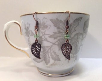 Fine Filigree Leaf Earrings With Faceted Glass Beads
