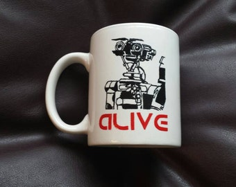 Hand painted mug inspired by Short Circuit