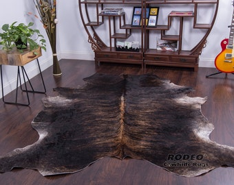 Extra Large Beautiful Dark Brindle Cowhide Rug size 7.8x6.10 - 1204