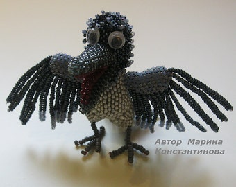 """Pattern / Tutorial Beaded Ornament-  Master Class """"The Raven"""""""