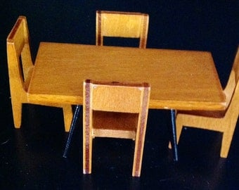 Strombecker Wooden Dollhouse Table and Four Chairs