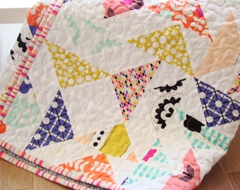Child Quilt / Lap Quilt / Kid Quilt  / Throw Quilt / Modern Quilt / Patchwork Blanket /Flying Geese Quilt /Patchwork Quilt