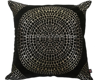 Soft Woven Chenille Black Gold Shiny Large Ornate Circle Pattern Fabric Cushions - 2 sizes Available - Cushion Cover Only