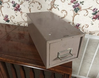 Steelmaster Single drawer industrial stackable card file cabinet - steam punk - upcycle -